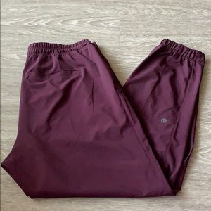 Woven Jogger in Plum